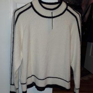 Mango black & white fuzzy sweater